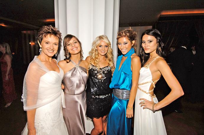 Dichen (second from right), with her former *Neighbours* co-stars Jackie Woodburne, Caitlin Stasey, Stephanie McIntosh, and Natalie Blair.