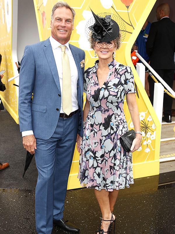 Former Deputy PM Julie Bishop is looking chic with her partner David Panton at the Bumble Birdcage Marquee. *(Image: Getty Images)*
