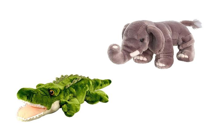 "[Kormico Premium Plush Crocodile](https://www.myer.com.au/p/korimco-853689170-626104810-1 target=""_blank"" rel=""nofollow"") and [Elephant](https://www.myer.com.au/p/korimco-853689170-626104450-1 target=""_blank"" rel=""nofollow""), $15 each"