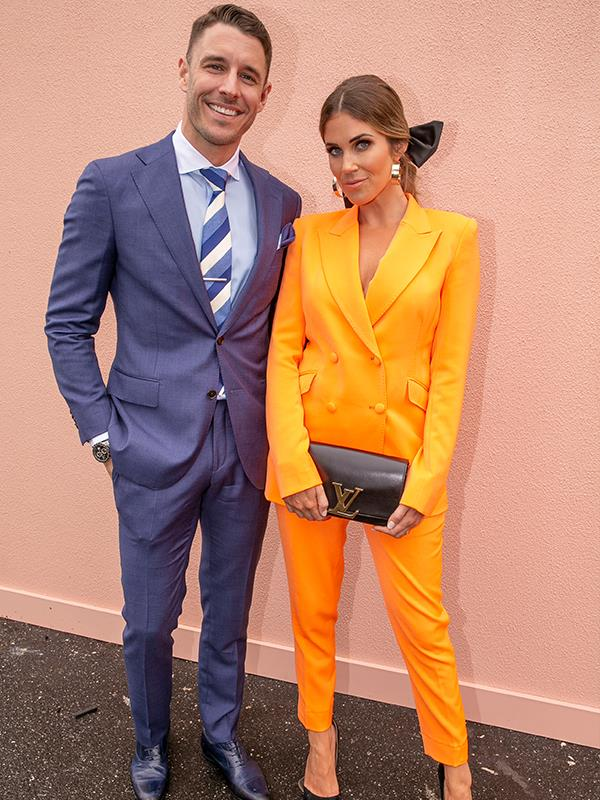 *Bachelorette* power couple Georgia Love and Lee Elliott rocked their power suits. *(Image: Media Mode)*