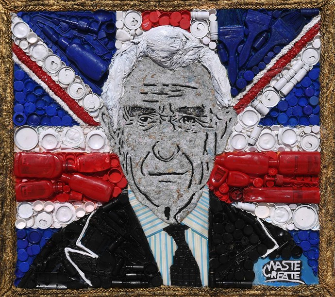Artist Chineyenwa Okoro Onu, created this portrait of Prince Charles out of recyclable materials. *(Source: Getty Images)*