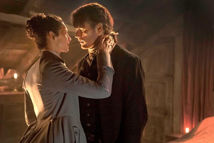 Caitriona and Sam film *Outlander.*