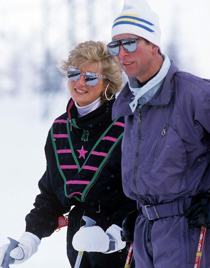 "Prince Charles and [Princess Diana](https://www.nowtolove.com.au/tags/diana-princess-of-wales|target=""_blank"") fully embracing the 80s on a family holiday to Switzerland in 1988. *(Image: David Hartley/REX/Shutterstock)*"