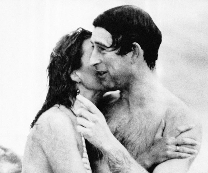 Pucker up: Who could forget when Aussie model Jane Priest famously planted a giant kiss on Charles' cheek causing him to blush during another trip to Perth in 1979? *(Image: Getty)*