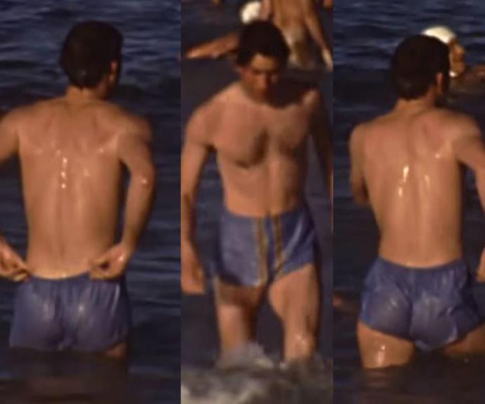 Whoops! Charles nearly loses his micro-short swimming trunks during a swim at Cottesloe Beach, Western Australia in 1979. *(Image: Dolly Tuffin YouTube)*