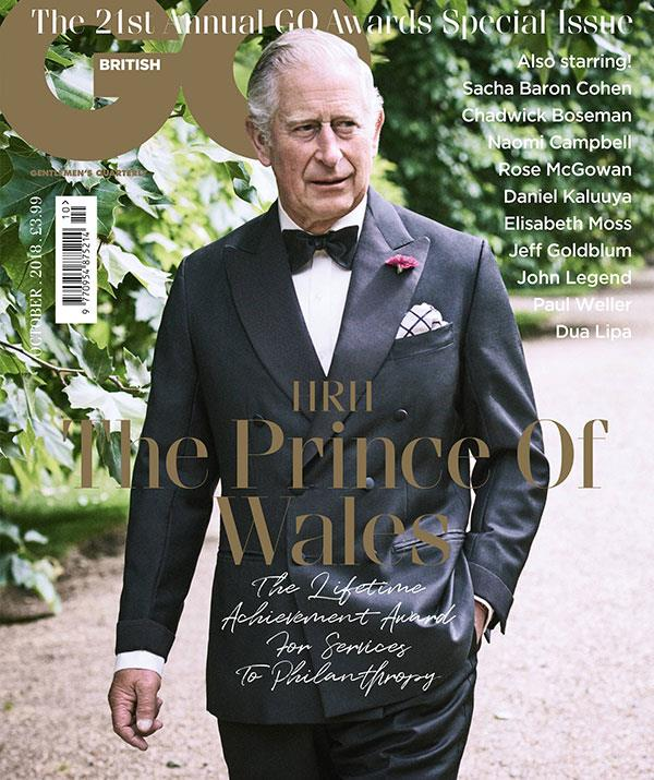 All hail Prince Charles! In October this year, the Prince of Wales graced the cover of *GQ* magazine as they awarded him the Lifetime Achievement Award for Services to Philanthropy. *(Image: GQ)*