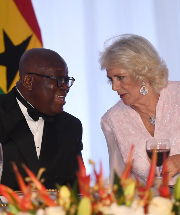 """Do you do the fandango?"" Camilla with President Nana Akufo-Addo last night. *(Image: Getty Images)*"