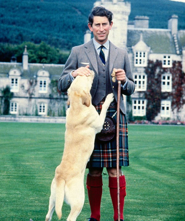 As a member of the Royal Family, Charles has several royal tartans that he's allowed to wear, including the Balmoral print, which was designed by Prince Albert. *(Image: Getty)*