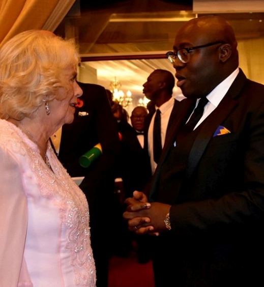 """HRH, your moves were *literally* unbelieveable."" British *Vogue* editor, Edward Enninful meets Camilla at the State Dinner in Ghana. *(Image: Instagram/@clarencehouse)*"
