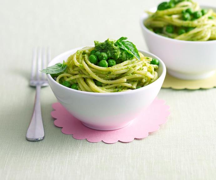 """**Spaghetti with pea pesto**  Kids tend to be visual eaters who will happily reject something if they decree it to be """"yucky"""". But, much like food on a stick, funny-coloured food is usually a hit and this bright green spaghetti dinner is a visual feast that picky eaters love. It's quick and easy too making mealtime a breeze!  *Find the recipe for this spaghetti with pea pesto* [*here*](https://www.womensweeklyfood.com.au/recipes/kids-spaghetti-with-pea-pesto-27839