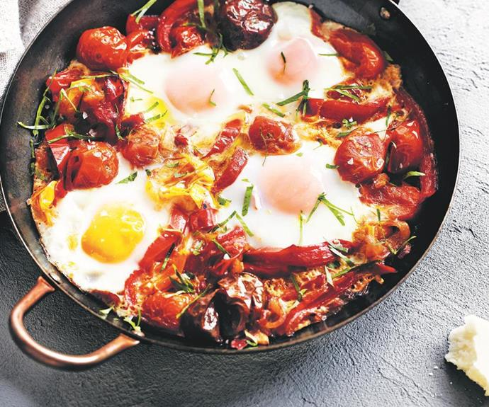 """**Baked eggs with capsicum and tomato**  There's nothing we like more than a recipe fit for a picky eater than a recipe that's one-pot too! Winning! This particular beauty combines the enduring appeal of soft-baked eggs with sweet and colourful tomatoes and capsicum. What's not to love?  *Find the recipe for baked eggs with capsicum and tomato* [*here*](https://www.womensweeklyfood.com.au/recipes/baked-eggs-with-capsicum-and-tomato-28637
