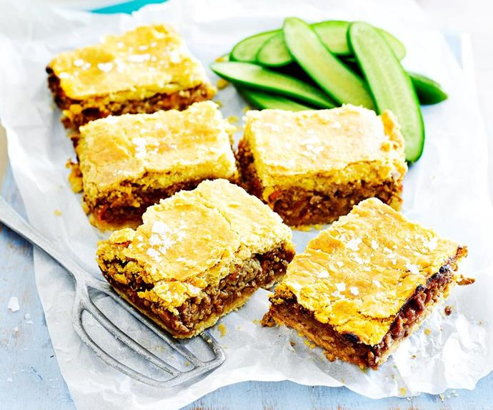 """**Savoury mince slice**  Give a new lease of life to the humble savoury mince pie with this tasty recipe twist. Full of hidden vegies and sandwiched between delicious, buttery pastry, they're a surefire hit for even the most picky of picky eaters. Serve them warm or cold with mashed potato and steamed greens, or wrapped up for a lunch box treat.    *Find the recipe for this savoury mince slice* [*here*](https://www.womensweeklyfood.com.au/recipes/savoury-mince-slice-1645