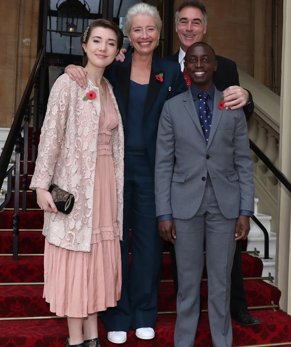 Emma Thompson's lookalike daughter, 18-year-old Gaia, poses with her family after her mother's award ceremony. *(Image: AAP)*
