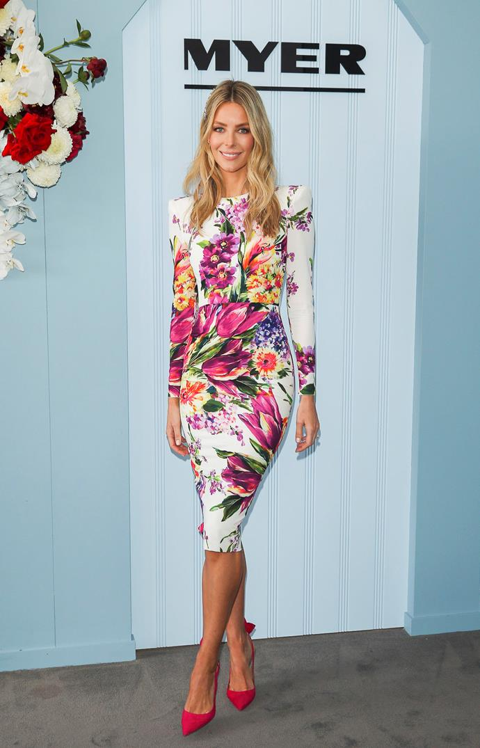 Jennifer Hawkins bringing a beautiful floral vibe with pops of colour. *(Source: Media Mode)*