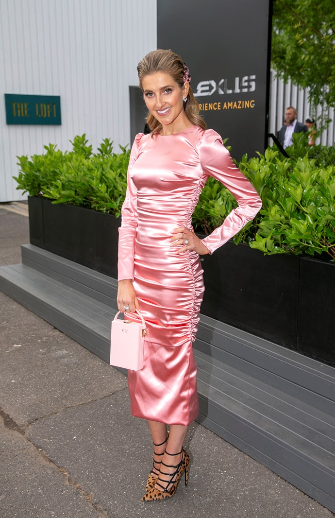 Kate Waterhouse's satin pink ensemble is seriously chic. *(Source: Media Mode)*