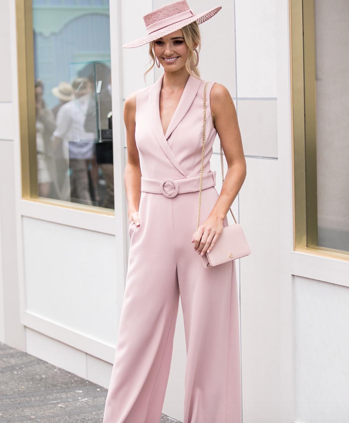 Aussie model, Brooke Hogan, looked like the perfect lady in this gorgeous pink jumpsuit! *(Source: Instagram)*