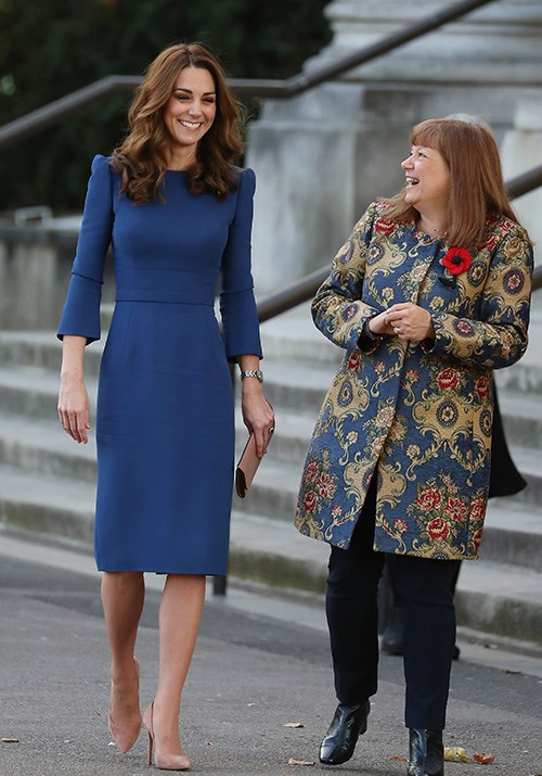 Duchess Catherine wore another recycled blue Jenny Packham dress earlier this month. *(Image: Getty)*