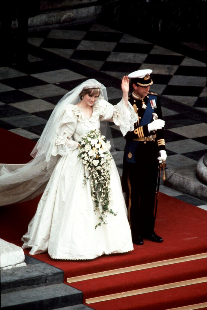 The royal couple gracefully waved at onlookers as they exited the church. *(Image: Getty)*