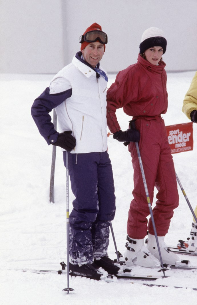 The royal couple took a ski trip (and donned some fashionable ski gear) in 1984. *Image: Getty Images*