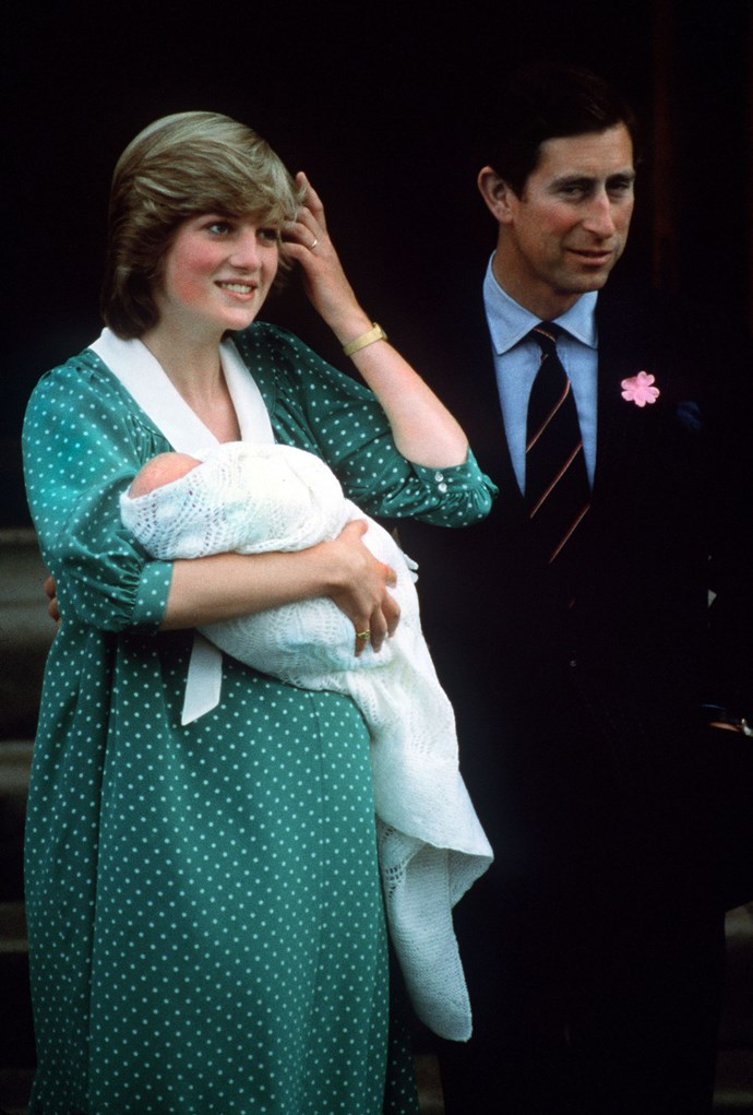 Following their wedding, Charles and Diana welcomed their first son Prince William to the world in 1982. The parents looked proud as punch. *Image: Getty Images*