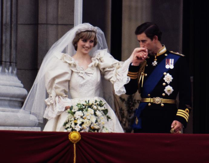 Charles and 20-year-old Diana married in 1981. The couple shared a 13-year-age difference, but that didn't seem to faze them - they looked smitten on the big day. *Image: Getty Images*