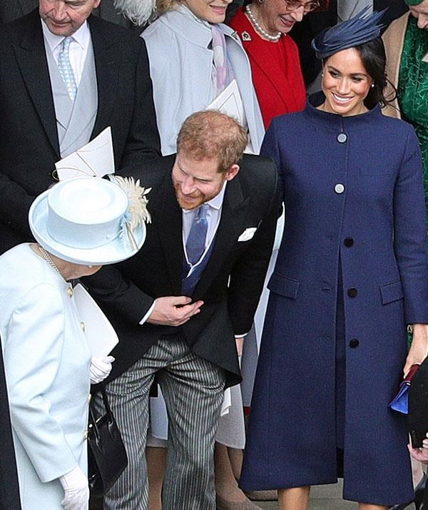 As sixth in line to the throne, Prince Harry (seen here with Duchess Meghan and The Queen at Princess Eugenie's wedding in October), does not have the same pressure of royal protocol as his brother the Duke of Cambridge. *(Image: Getty Images)*