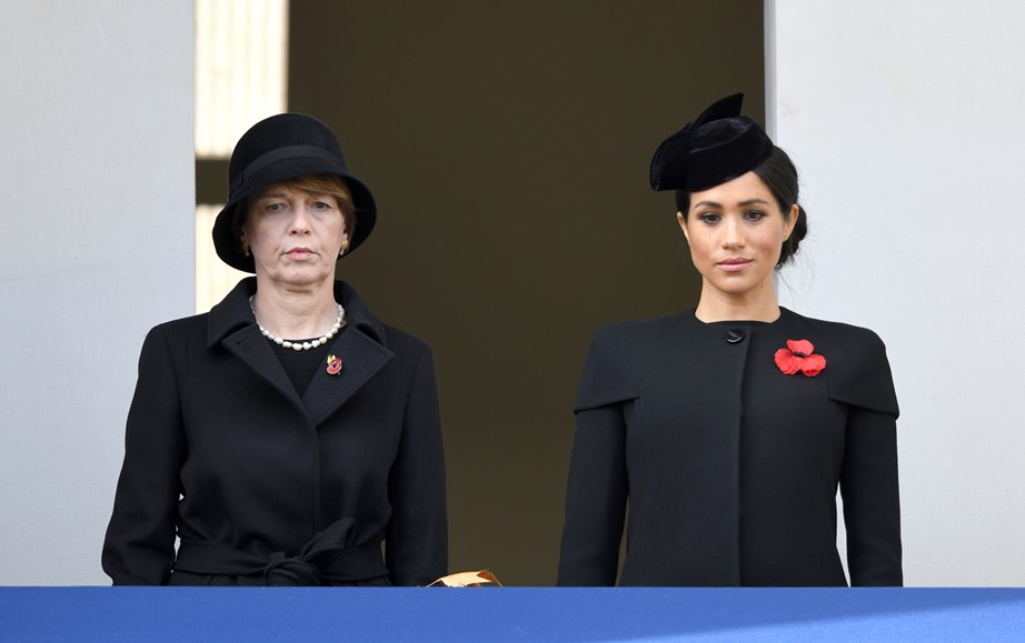 Meghan stood on a separate balcony alongside German President Frank-Walter Steinmeier's wife Elke Budenbender.
