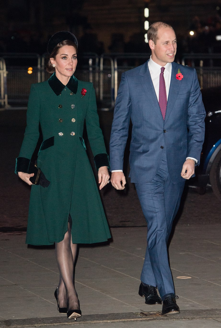 Kate's moss green coat looking striking on the Duchess.