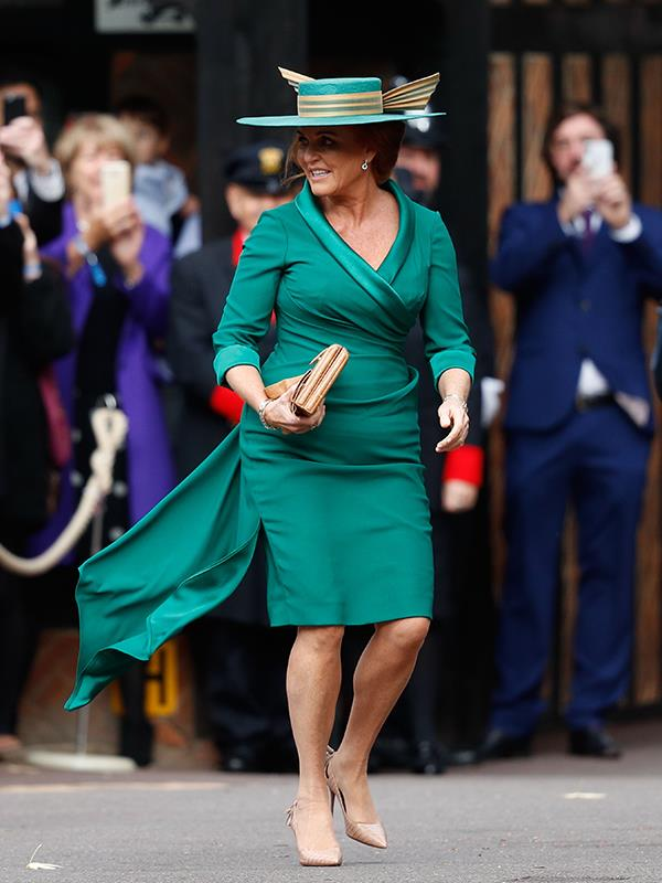 Sarah Ferguson wore a deep green to pay respect to her late mother at her daughter's royal wedding. *(Image: Getty Images)*