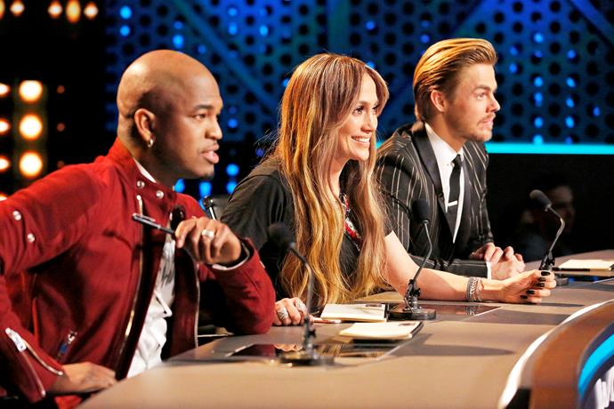 J.Lo flanked by fellow *World of Dance* judges Ne-Yo and Derek Hough.