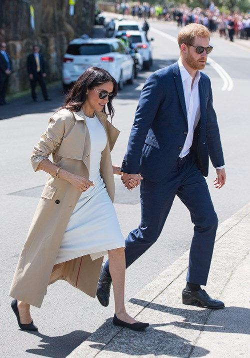 The Duchess had a quick change into her beloved Rothy's on the first day of her tour in Sydney. *(Image: Getty)*