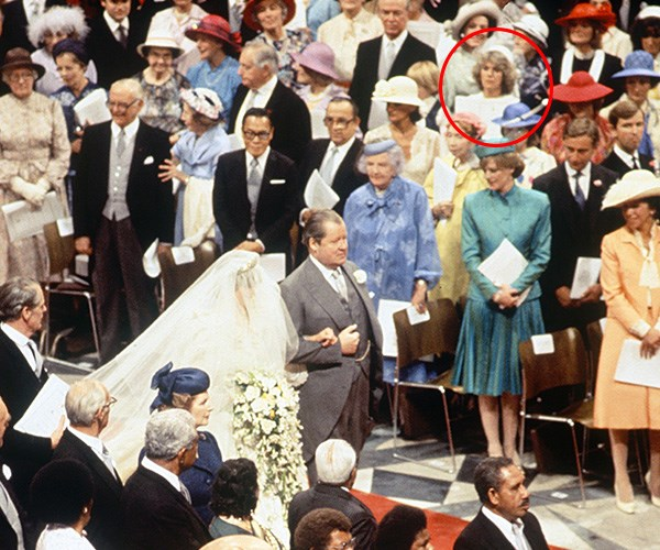 Camilla (circled in red) attended Prince Charles and Princess Diana's 1981 wedding. *(Image: Rex Features)*