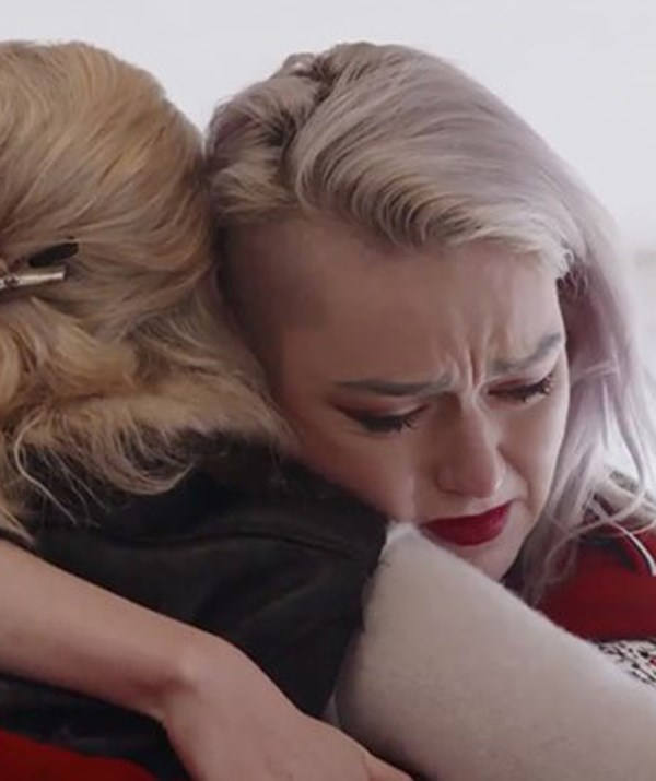 In tears again. Izzy Vesey is comforted by mum Bobbi. *(Image: Channel Seven)*