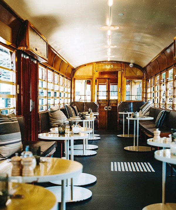 Who can resist making a meal out of it in a refurbished tram? *(Image: Butcher and the Farmer)*