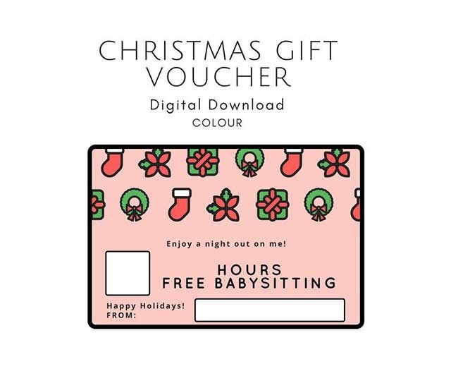 """Literally a priceless gift to mums! Slip this cute Etsy voucher — which you can download for $1 — inside a Christmas card and you'll make someone's day/year. <br><br> [Babysitting Voucher](https://www.etsy.com/au/listing/596914516/6-x-4-christmas-babysitting-gift-voucher
