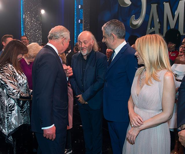 Prince Charles greeted English comedian Bill Bailey, who performed at the royal's 60th birthday - a decade ago! *(Image: AAP)*