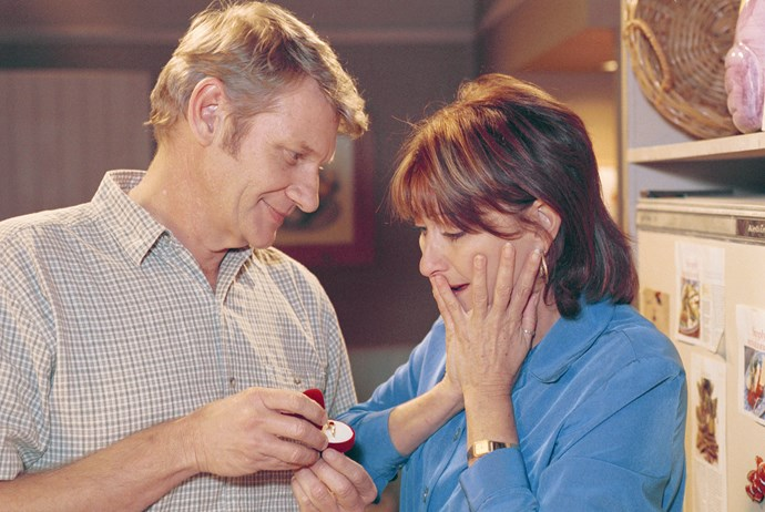26. Irene & Ken <br><br> Irene Roberts (Lynne McGranger) struck up a romance with Ken Smith (Anthony Phelan), but their love didn't last. Irene had a premonition that her fiancé would die, and her worst fear was realised when a car fell on the mechanic at work in 2000.