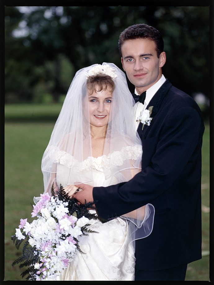 **28. Carly & Ben** <br><br> This fiery couple first met in the Diner when handsome soldier Ben Lucini (Julian McMahon) arrived in the Bay while on leave from the army. Carly Morris (Sharyn Hodgson) liked what she saw and they began dating. The pair married in 1990 and moved to Perth soon afterwards.