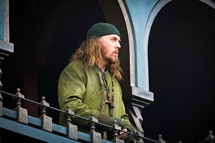 Tim Minchin looks spot-on as Friar Tuck.