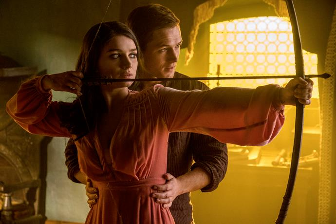 Eve Hewson and Taron Egerton as Maid Marian and Robin Hood.