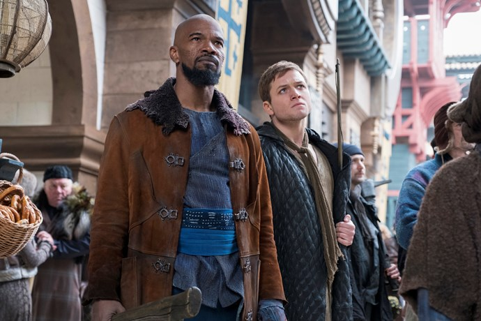 Jamie Foxx and Taron Egerton as Little John and Robin Hood.