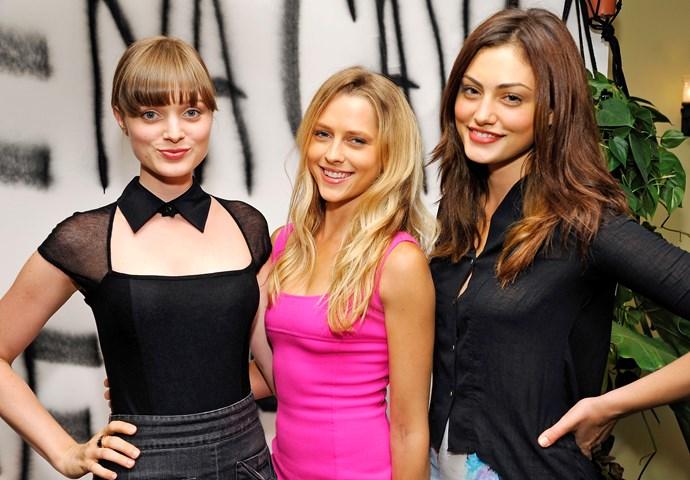 Teresa with Bella Heathcote (left) and Phoebe Tonkin.