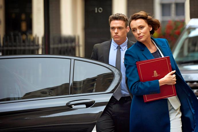 Police Officer David Budd (Richard Madden) and Britain's Home Secretary Julia Montague (Keeley Hawes).