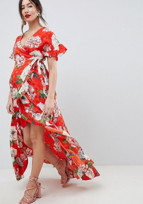 "We're particularly fond of this gorgeous floral wrap maxi from [Asos](https://www.asos.com/au/asos-maternity/asos-design-maternity-ruffle-wrap-maxi-dress-in-floral-jacquard/prd/9821700|target=""_blank""