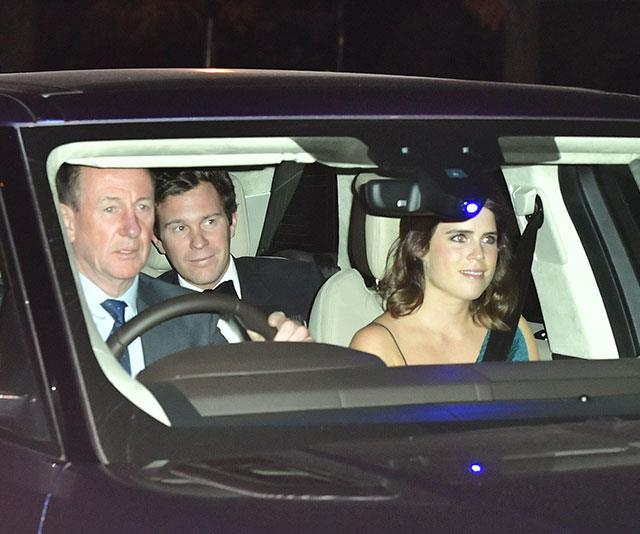 Fresh from their wedding, Jack and Eugenie arrive to celebrate with the future king. *(Image: Getty)*