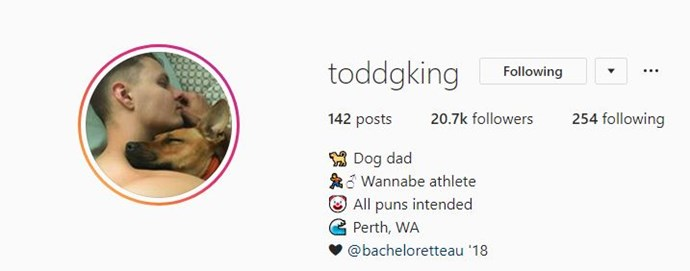 Todd's made a sneaky amendment to his Instagram bio. *(Image: Instagram @toddgking)*