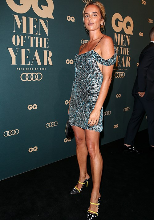 When fashion and juxtaposition collide: Australian designer Pip Edwards wore a slinky ice blue metallic frock paired with polka-dot heels. (Image: Getty)
