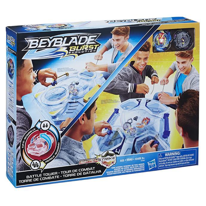 """[Beyblade Switchstrike Battle Tower](https://www.myer.com.au/p/hasbro-beyblade-switchstrike-battle-tower target=""""_blank"""" rel=""""nofollow""""), $99.99"""