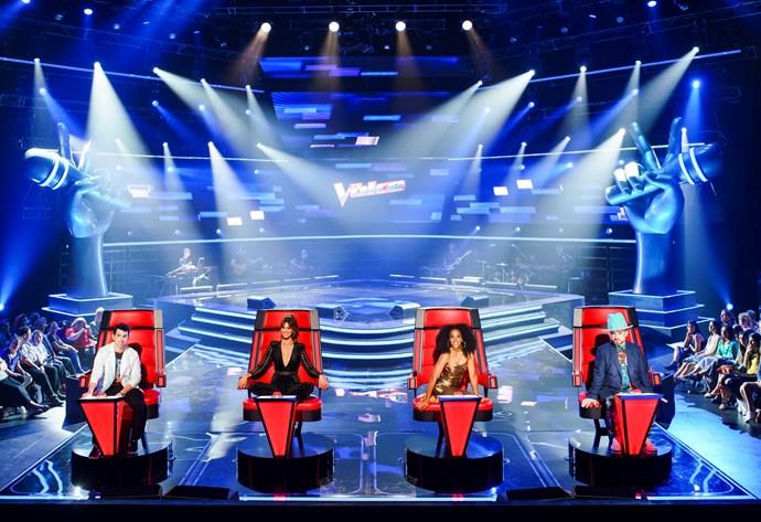 *The Voice* judges Joe Jonas, Delta Goodrem, Kelly Rowland and Boy George.
