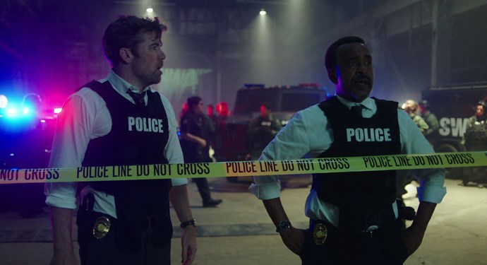 Patrick Brammall and Tim Meadows as the stakeout cops.